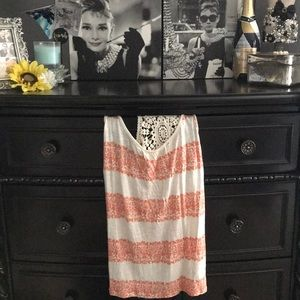 Forever 21 White and Orange Striped Lace Tank